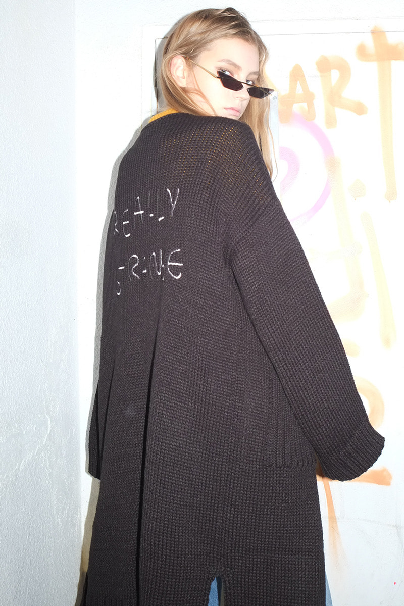 Oversized Long cardigan (BLACK)