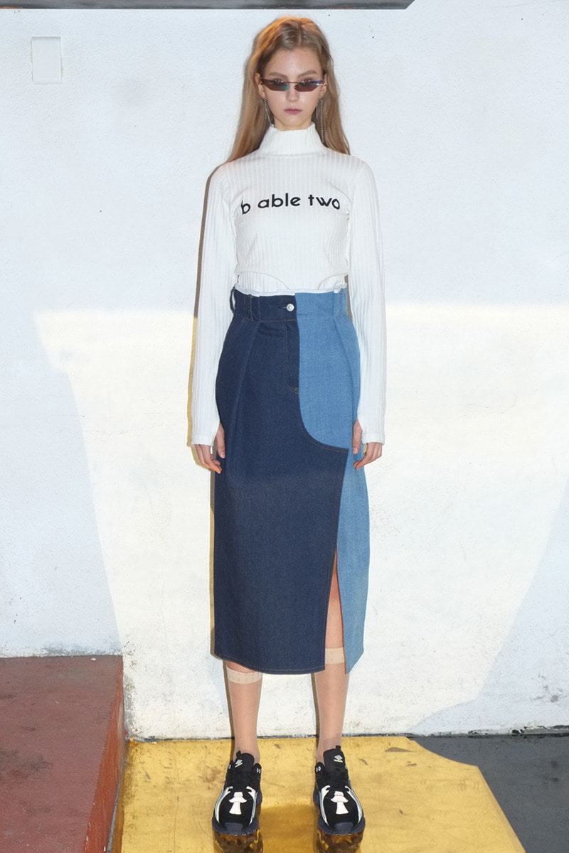 Color Effects Denim Skirt  (BLUE)