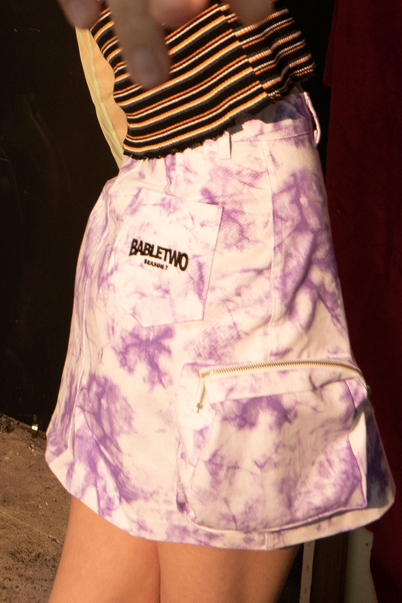 Tie Dye Cargo Pocket Skirt (WHITE)
