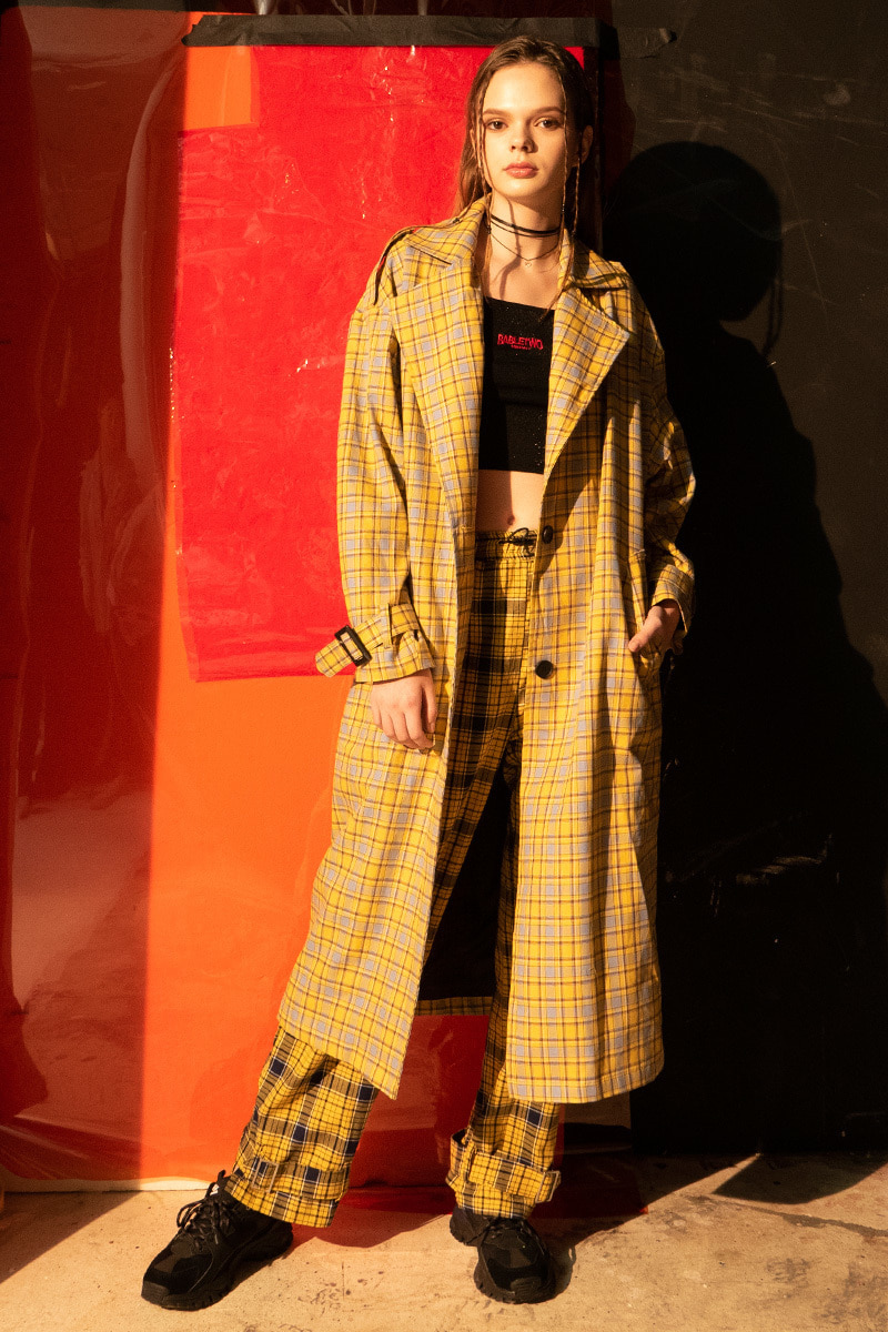 Signature Check Trench Coat (YELLOW)