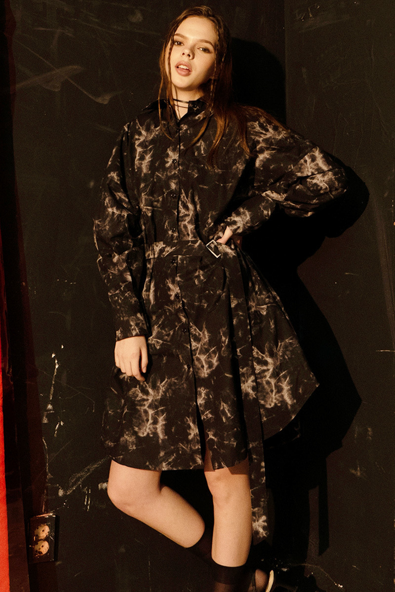 Oversized Tie Dye Shirts Dress (BLACK)