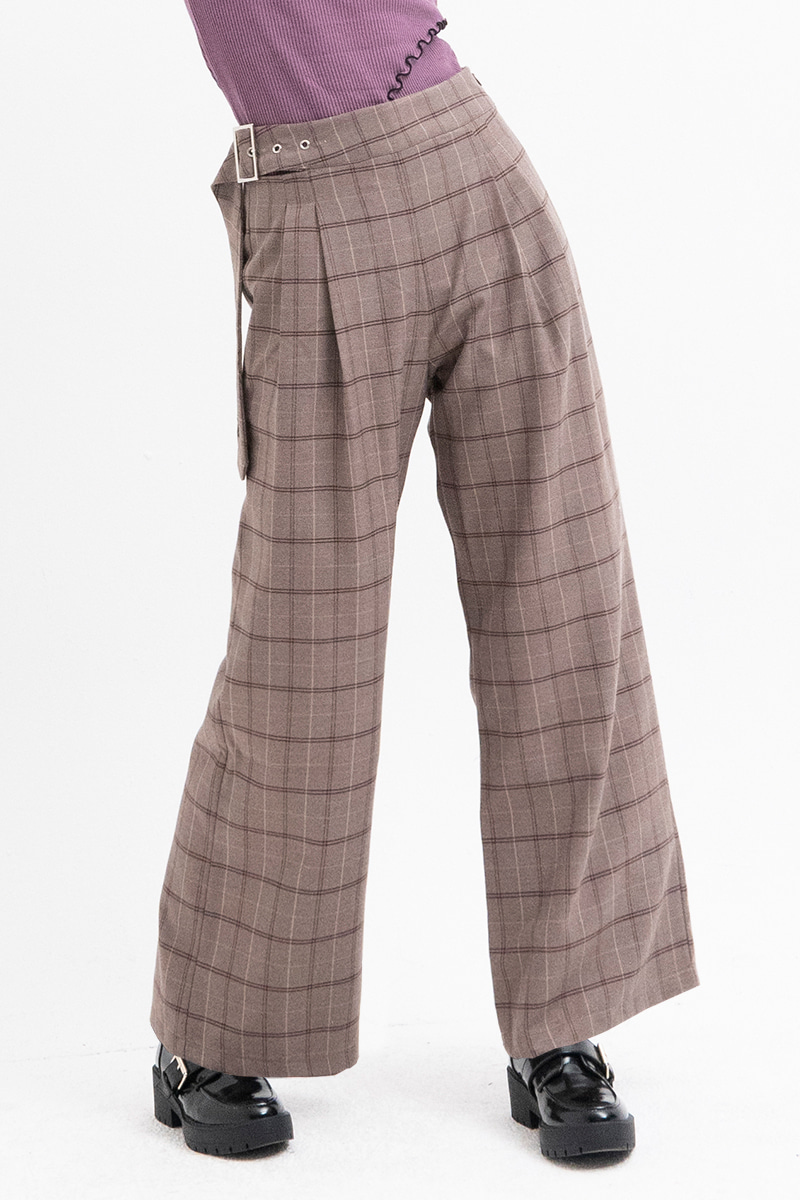 Belt Detail Wide Pants (BROWN)