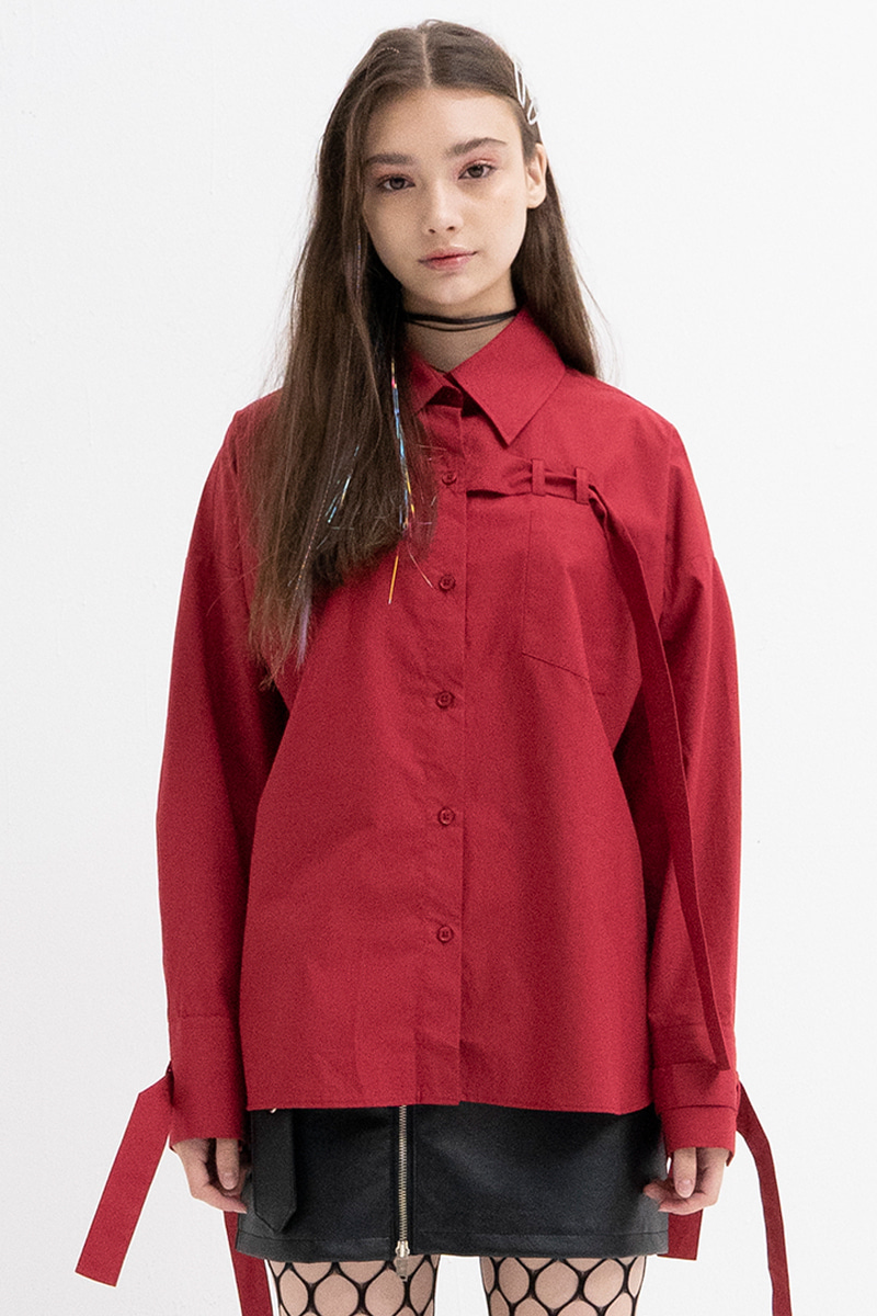 Belt Detail Shirts (RED)