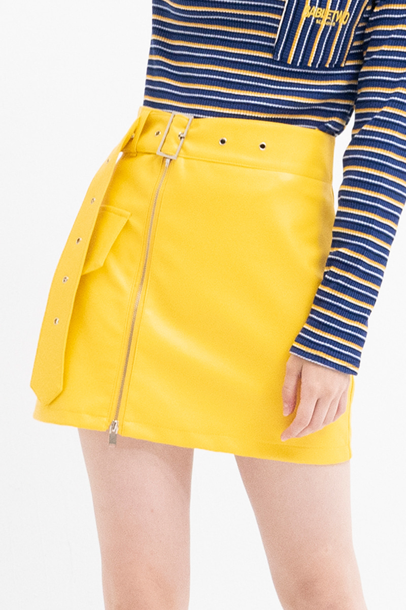 Belt Detail Leather Skirt (YELLOW)
