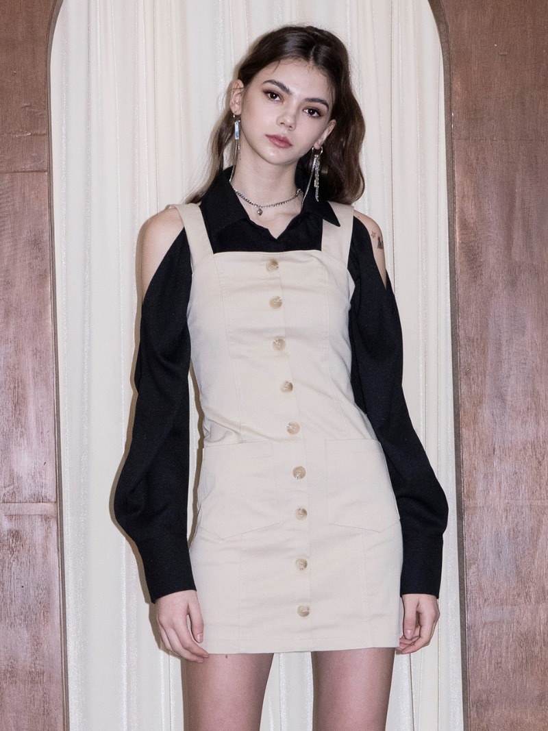 Suspender Dress (BEIGE)